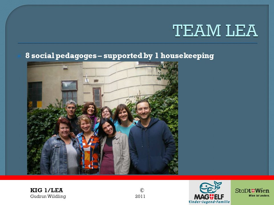 TEAM LEA 8 social pedagoges – supported by 1 housekeeping KIG 1/LEA ©