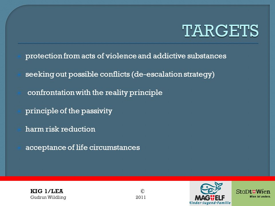 TARGETS protection from acts of violence and addictive substances