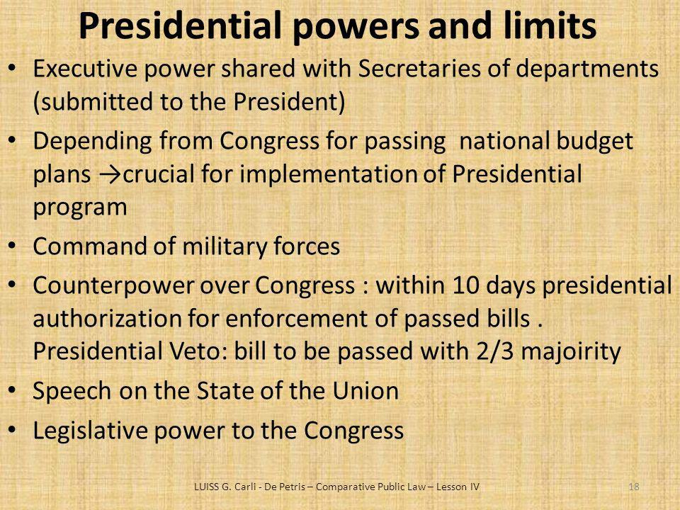 Presidential powers and limits