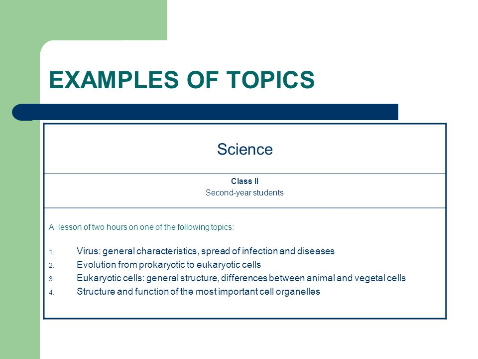 EXAMPLES OF TOPICS Science