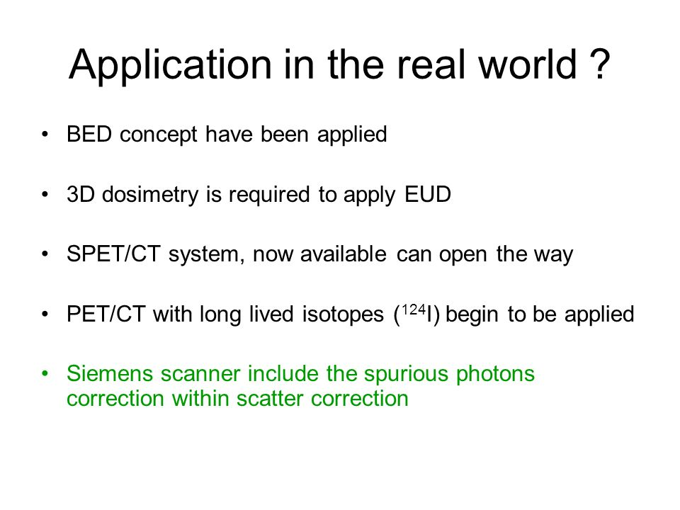 Application in the real world
