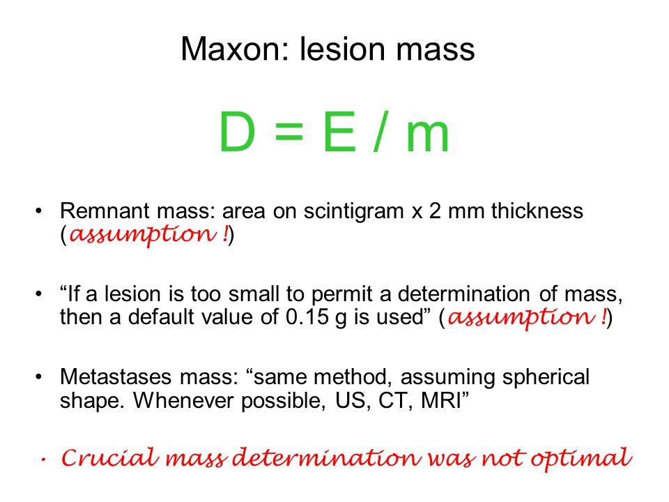 D = E / m Maxon: lesion mass