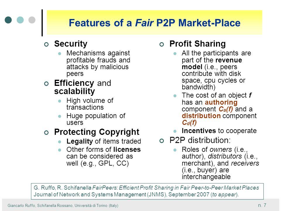Features of a Fair P2P Market-Place