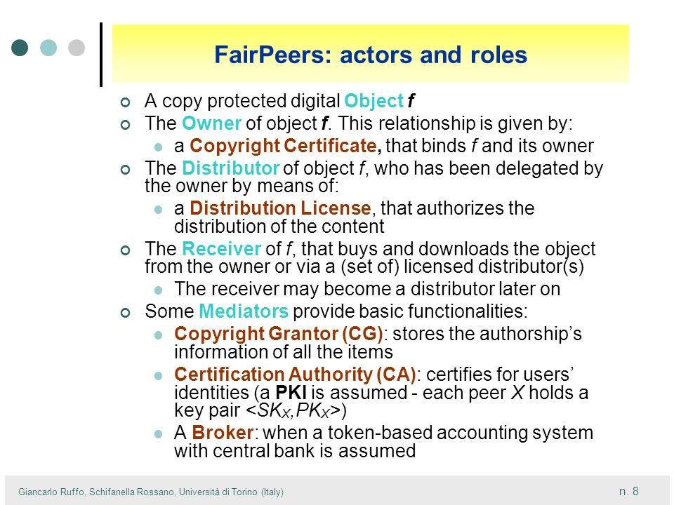 FairPeers: actors and roles