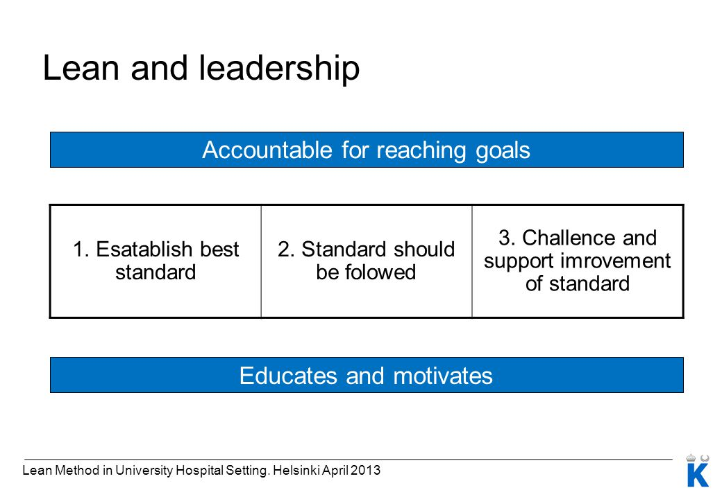 Lean and leadership Accountable for reaching goals