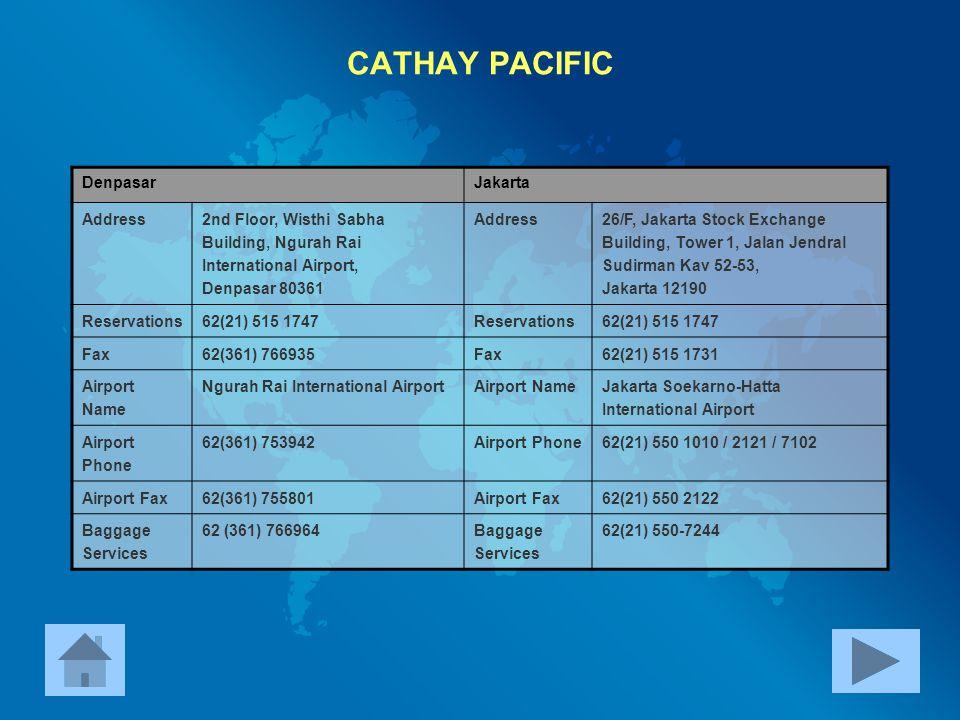CATHAY PACIFIC Denpasar Jakarta Address
