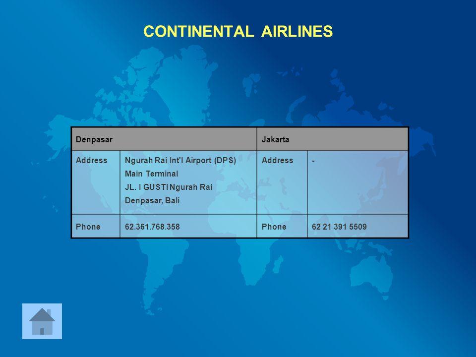 CONTINENTAL AIRLINES Denpasar Jakarta Address