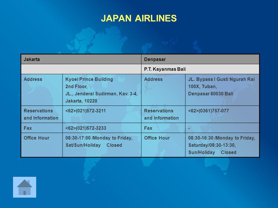 JAPAN AIRLINES Jakarta Denpasar P.T. Kayanmas Bali Address
