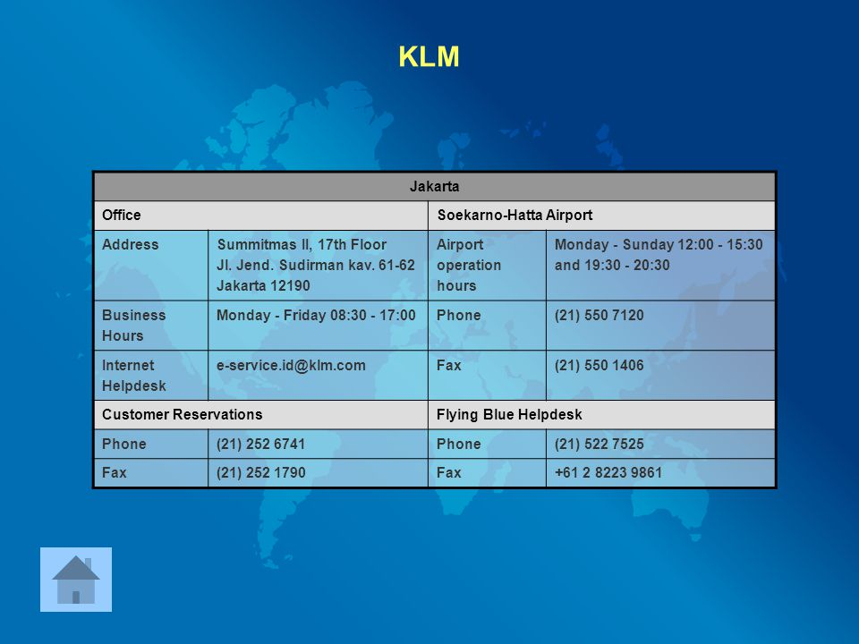 KLM Jakarta Office Soekarno-Hatta Airport Address