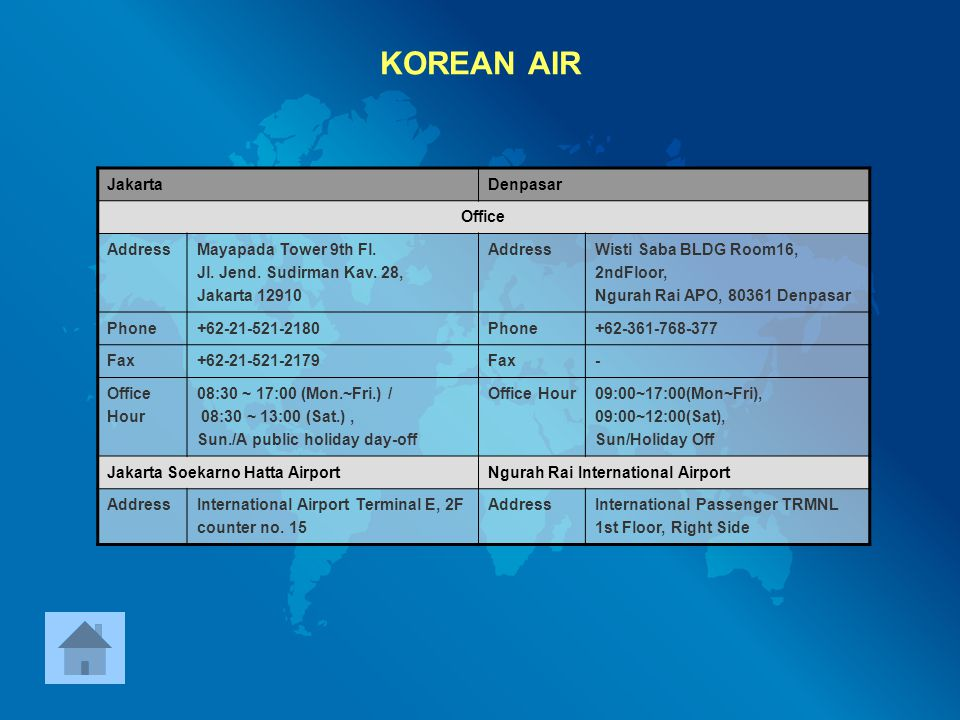 KOREAN AIR Jakarta Denpasar Office Address Mayapada Tower 9th Fl.
