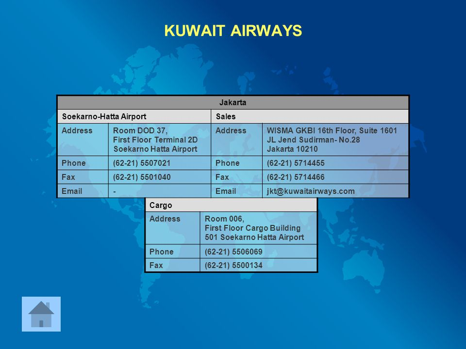 KUWAIT AIRWAYS Jakarta Soekarno-Hatta Airport Sales Address