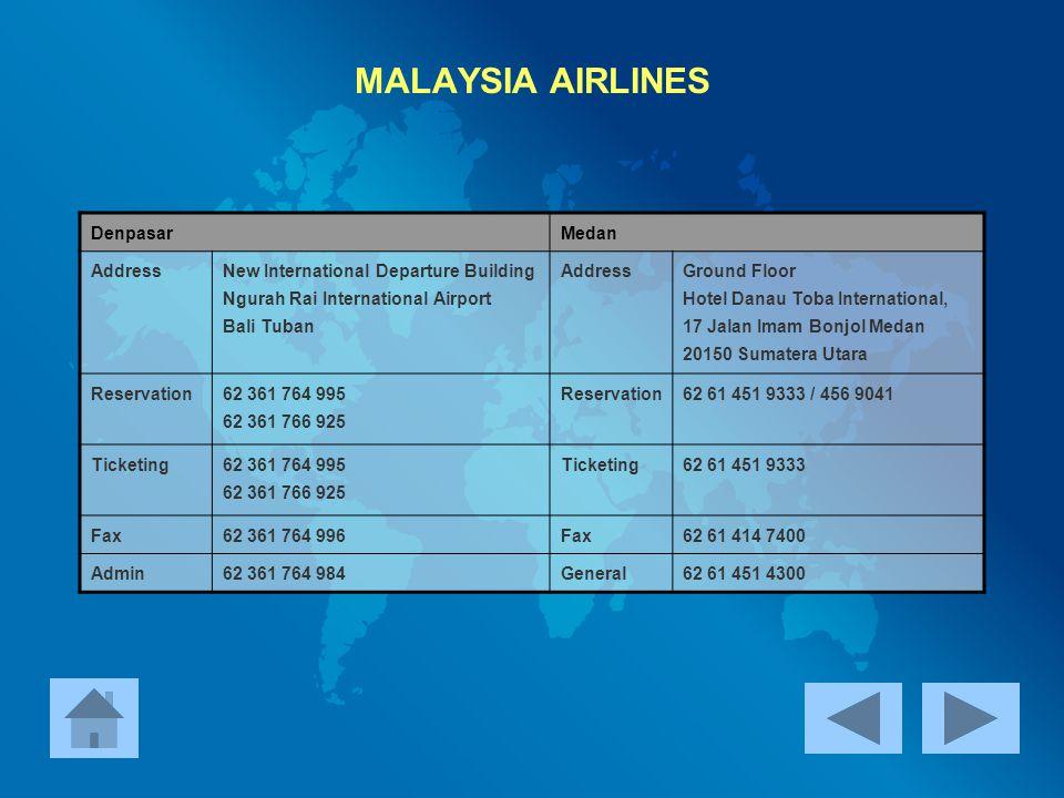 MALAYSIA AIRLINES Denpasar Medan Address