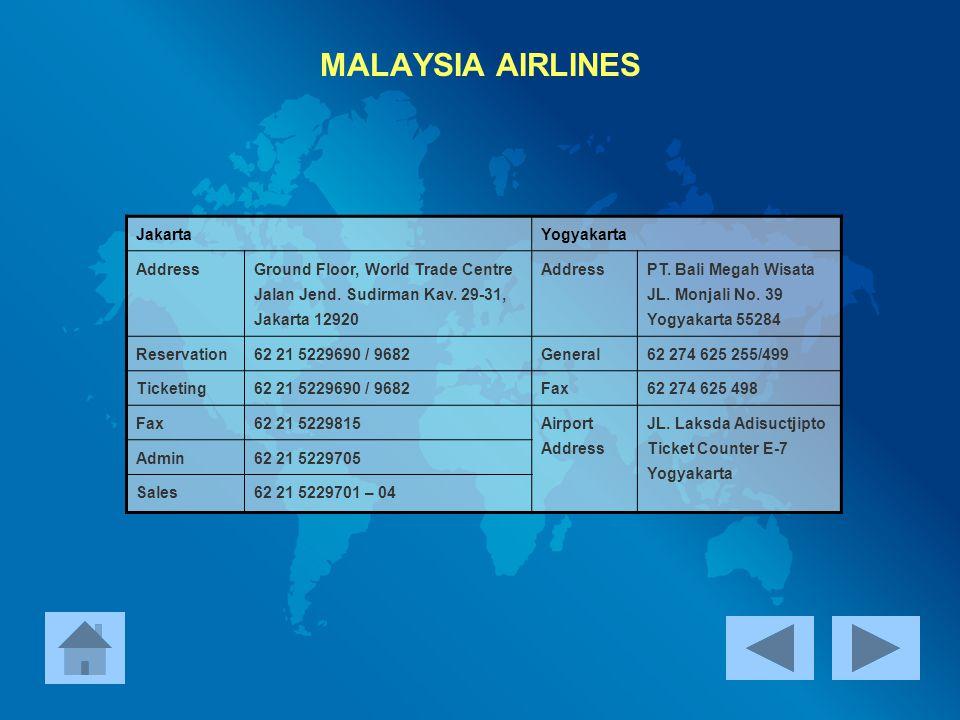 MALAYSIA AIRLINES Jakarta Yogyakarta Address