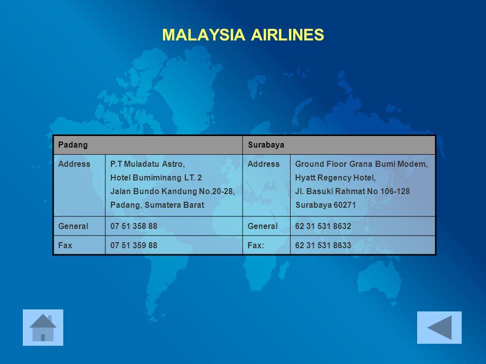 MALAYSIA AIRLINES Padang Surabaya Address P.T Muladatu Astro,