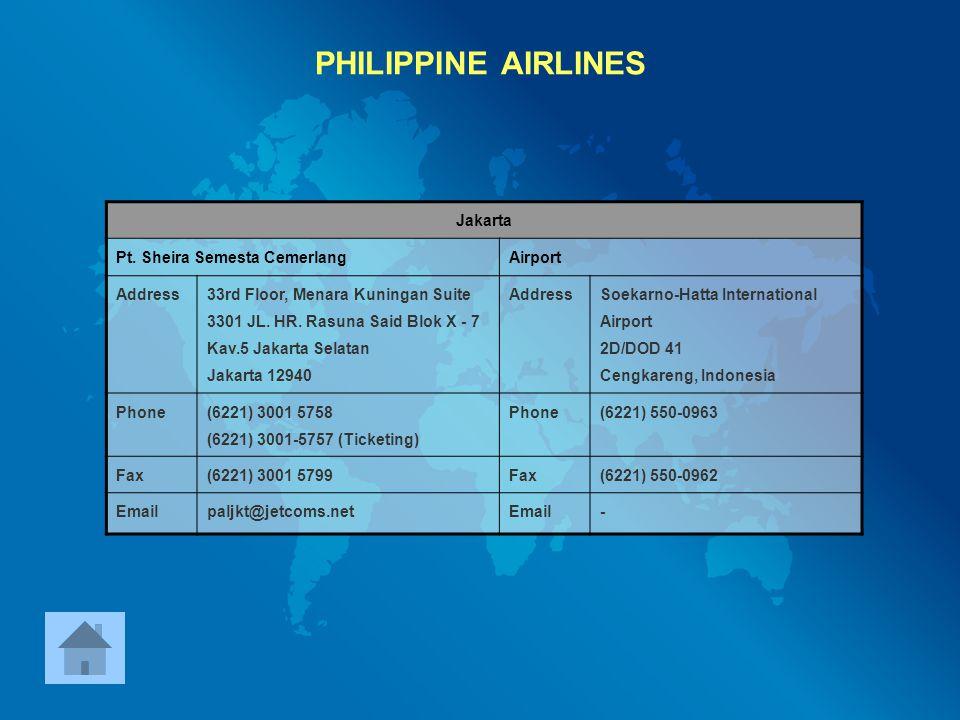 PHILIPPINE AIRLINES Jakarta Pt. Sheira Semesta Cemerlang Airport