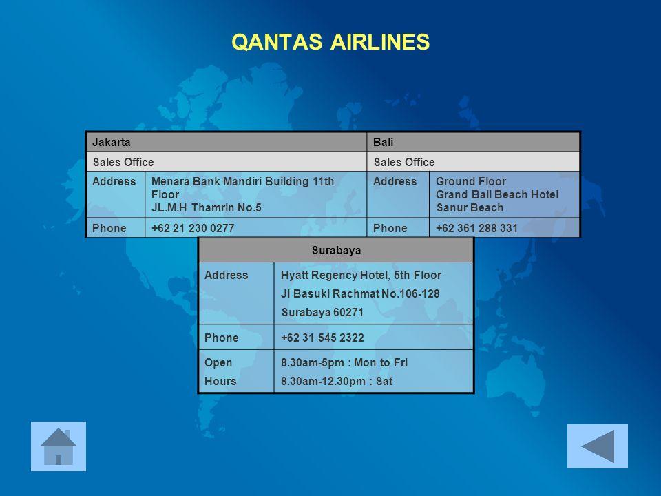QANTAS AIRLINES Jakarta Bali Sales Office Address