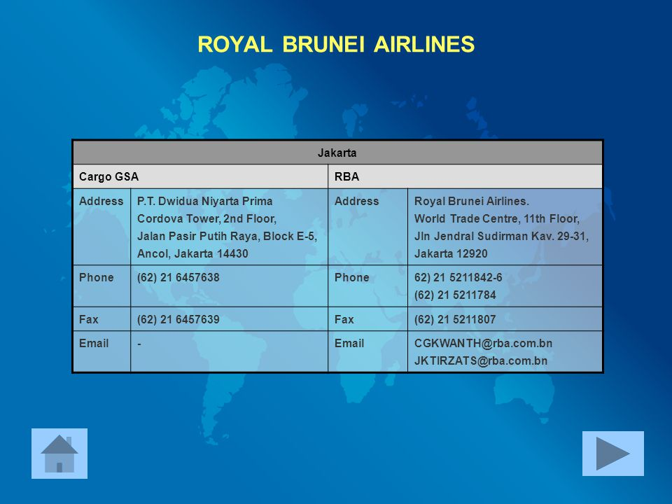 ROYAL BRUNEI AIRLINES Jakarta Cargo GSA RBA Address