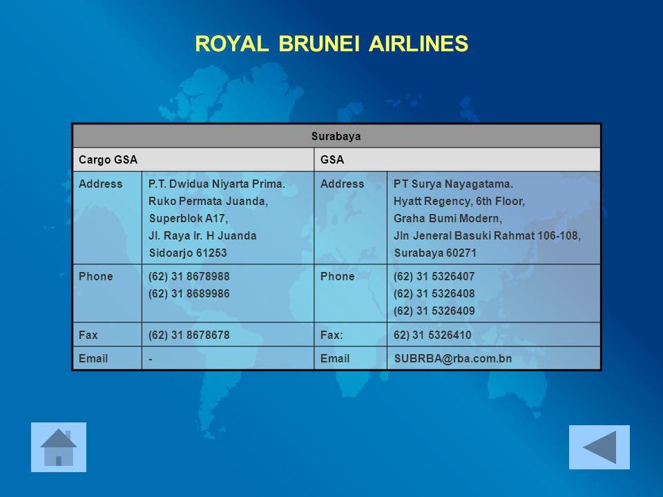 ROYAL BRUNEI AIRLINES Surabaya Cargo GSA GSA Address
