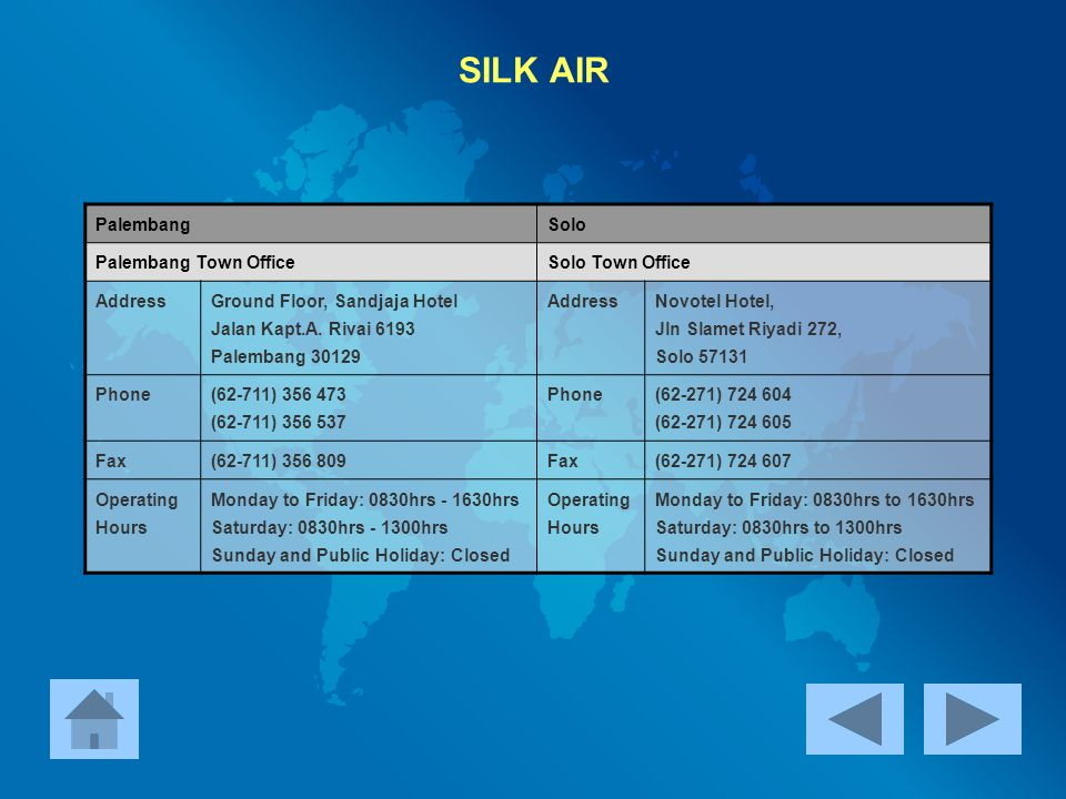 SILK AIR Palembang Solo Palembang Town Office Solo Town Office Address