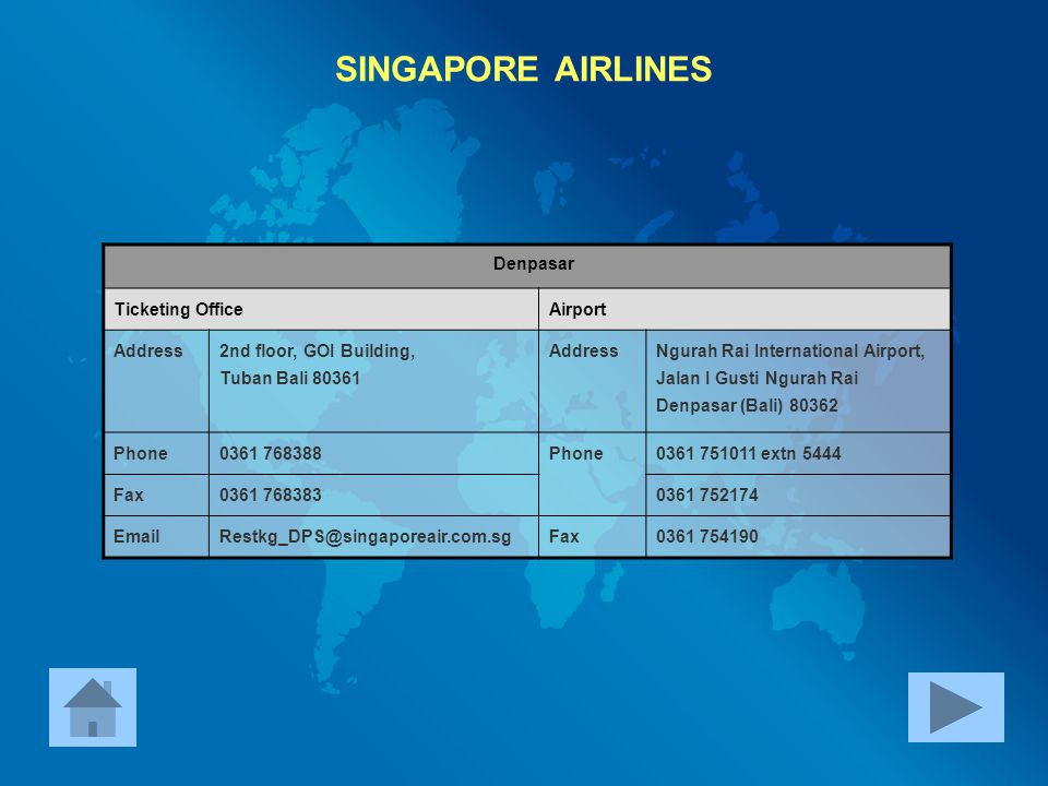 SINGAPORE AIRLINES Denpasar Ticketing Office Airport Address