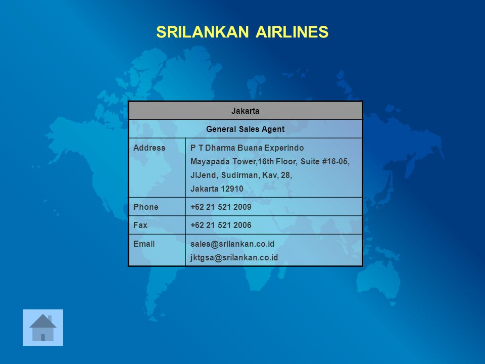 SRILANKAN AIRLINES Jakarta General Sales Agent Address