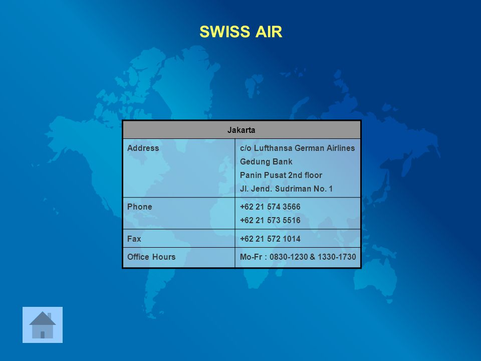 SWISS AIR Jakarta Address c/o Lufthansa German Airlines