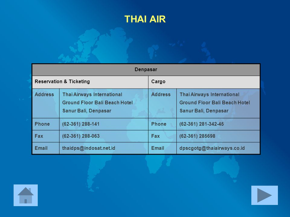THAI AIR Denpasar Reservation & Ticketing Cargo Address