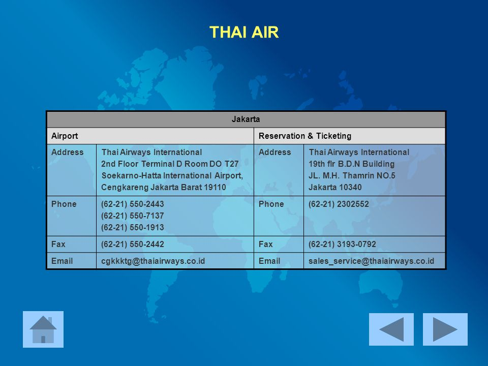 THAI AIR Jakarta Airport Reservation & Ticketing Address