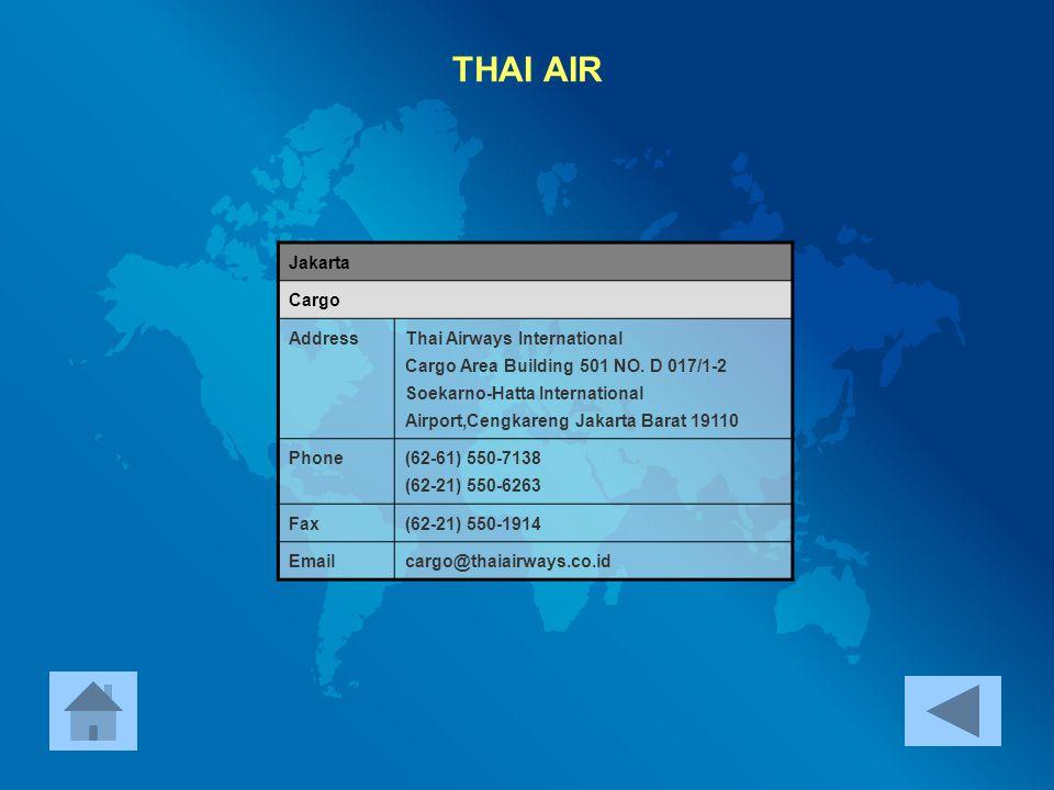 THAI AIR Jakarta Cargo Address Thai Airways International