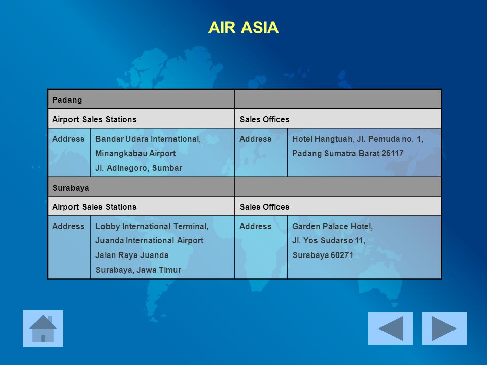 AIR ASIA Padang Airport Sales Stations Sales Offices Address