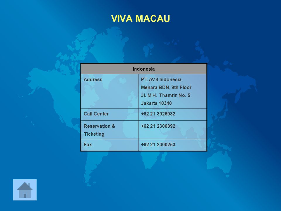 VIVA MACAU Indonesia Address