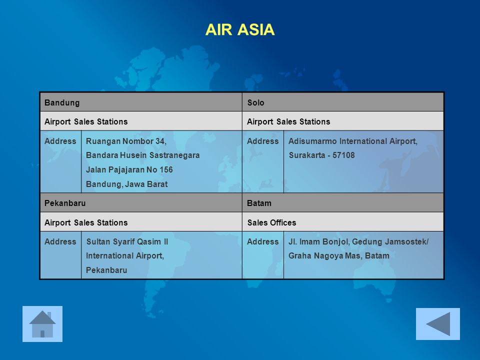 AIR ASIA Bandung Solo Airport Sales Stations Address
