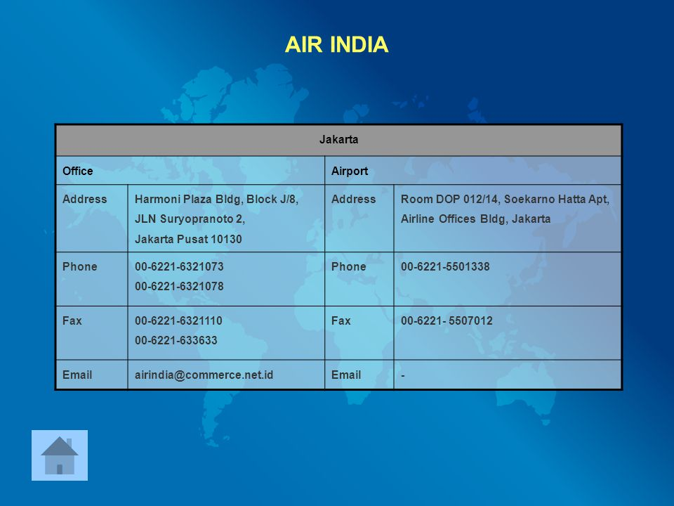 AIR INDIA Jakarta Office Airport Address