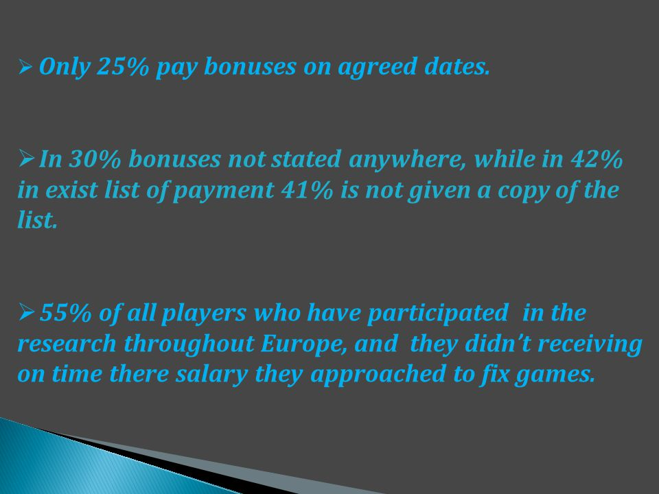 Only 25% pay bonuses on agreed dates.