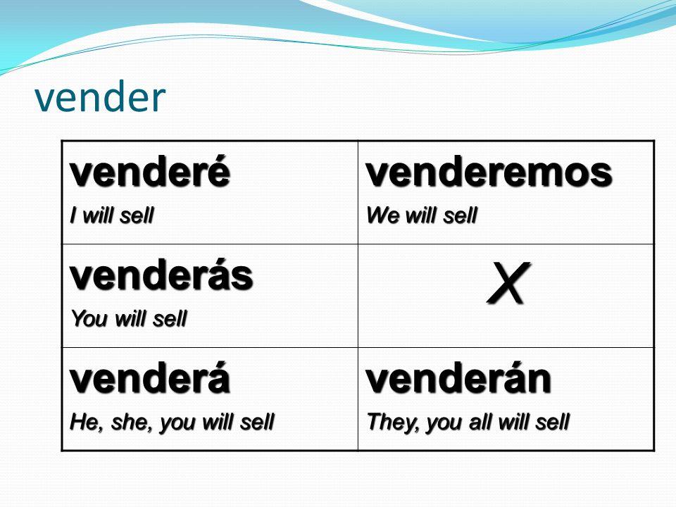 X vender venderé venderemos venderás venderá venderán I will sell