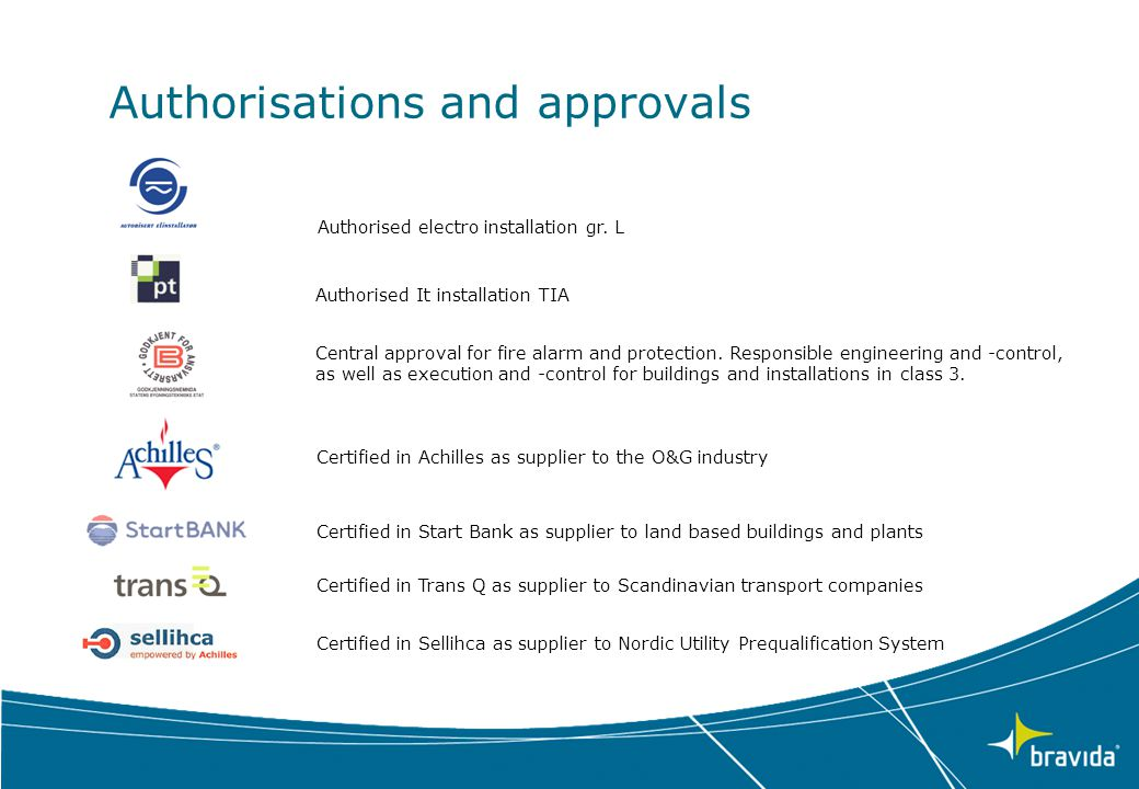 Authorisations and approvals
