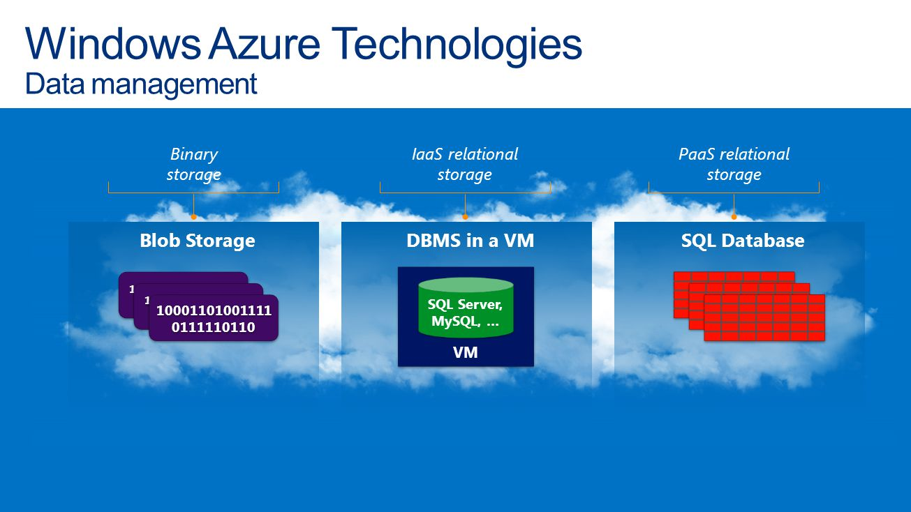 Windows Azure Technologies Data management