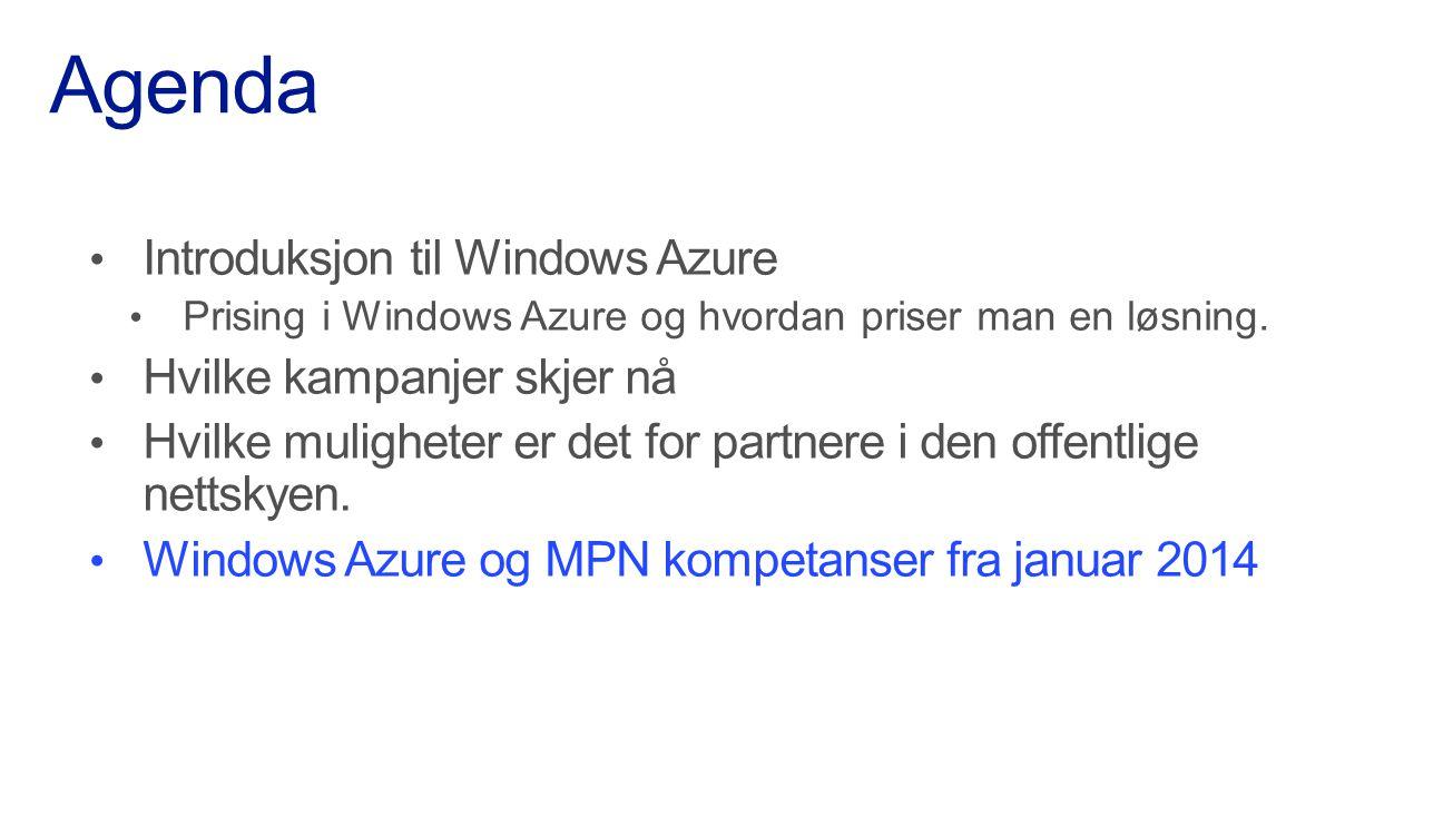 Agenda Introduksjon til Windows Azure Hvilke kampanjer skjer nå