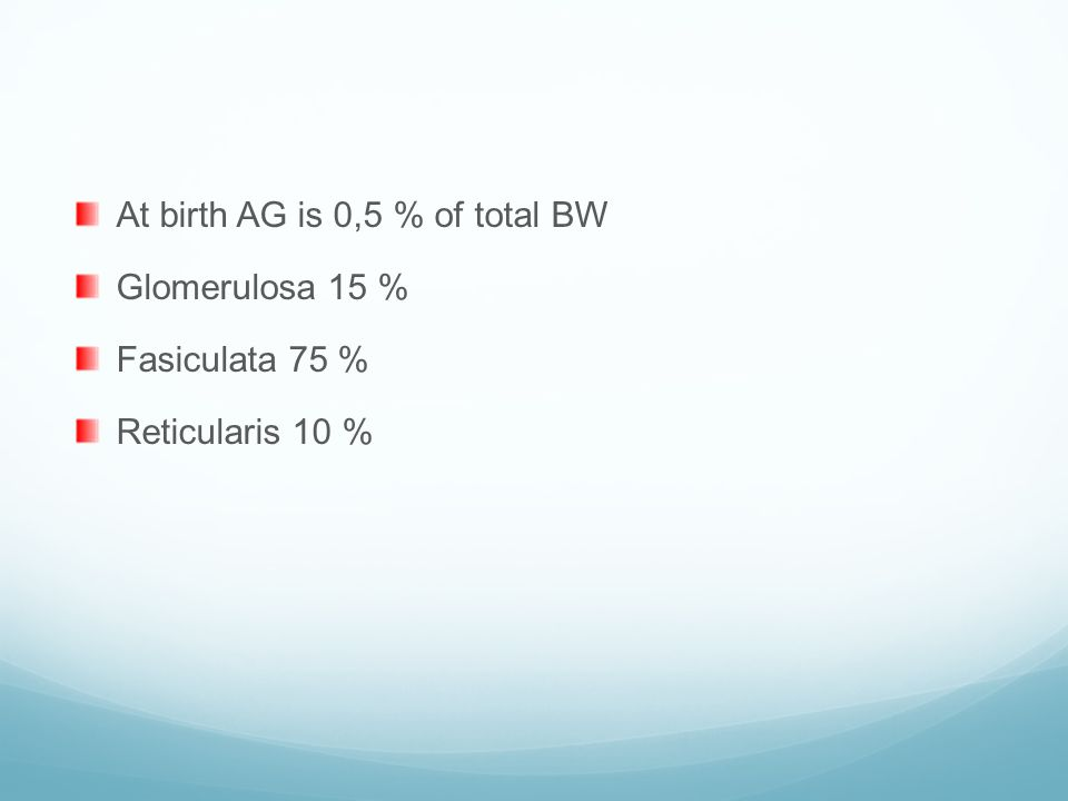 At birth AG is 0,5 % of total BW
