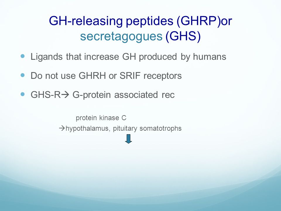 GH-releasing peptides (GHRP)or secretagogues (GHS)
