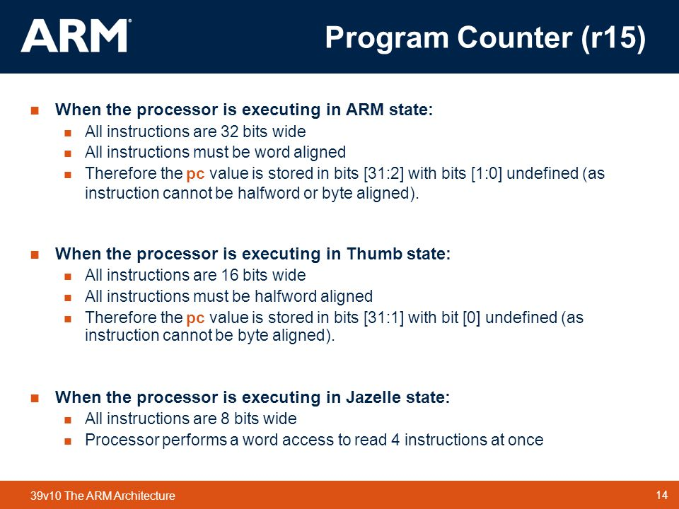 Program Counter (r15) When the processor is executing in ARM state: