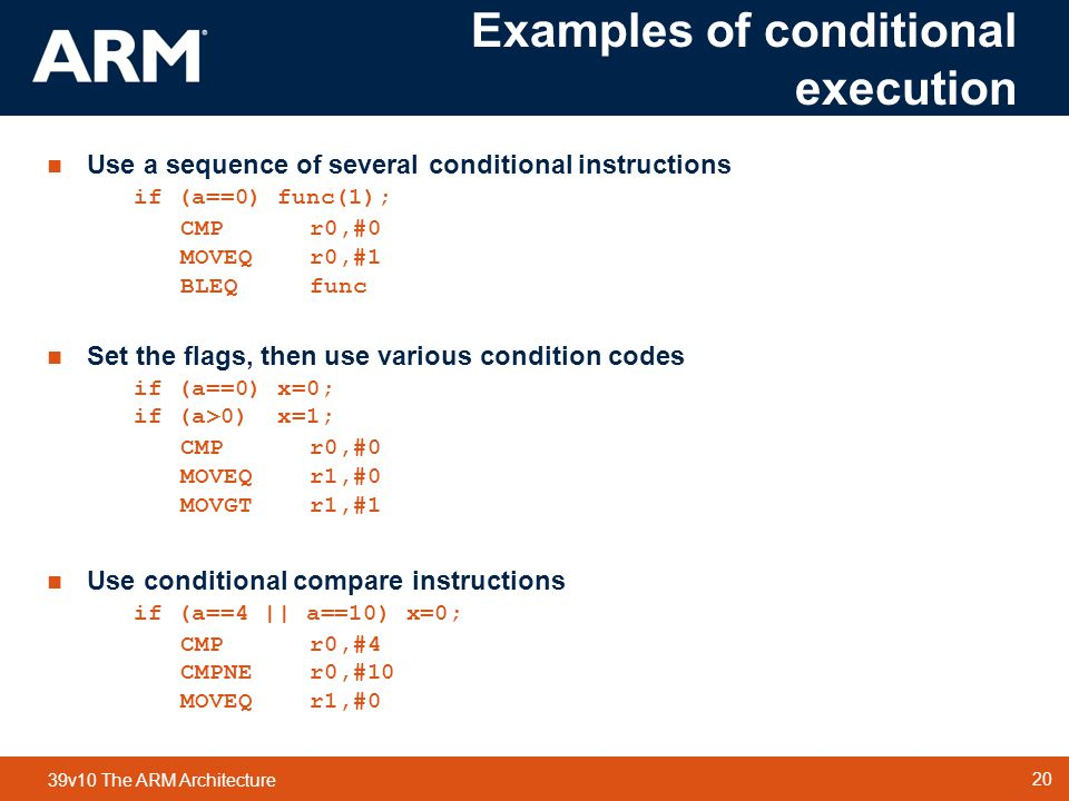 Examples of conditional execution