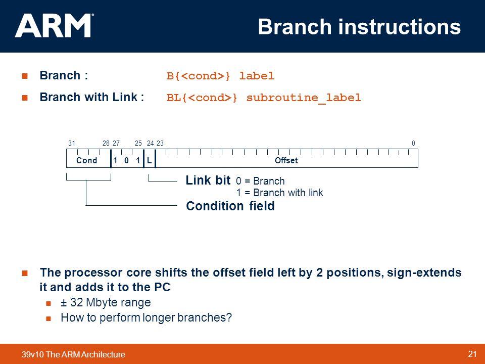 Branch instructions Link bit 0 = Branch Condition field
