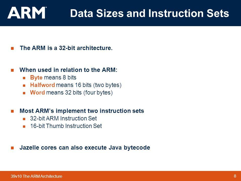 Data Sizes and Instruction Sets