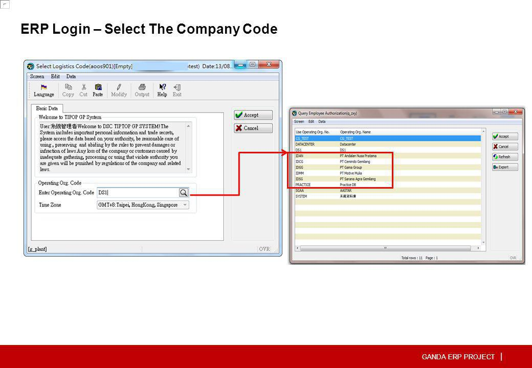 ERP Login – Select The Company Code