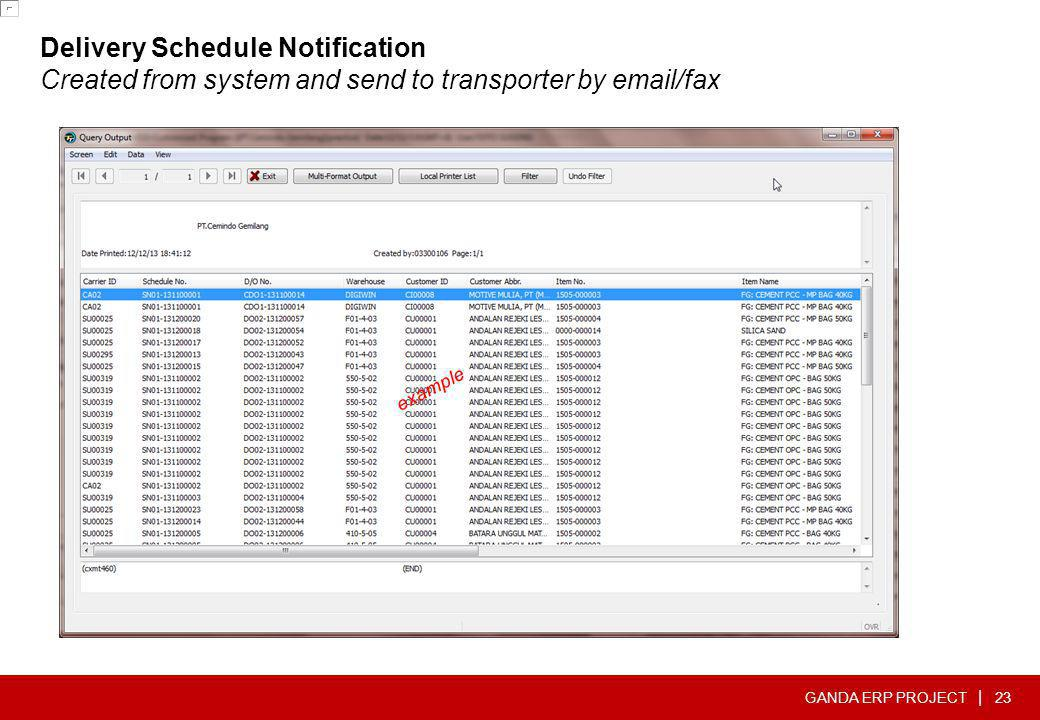 Delivery Schedule Notification Created from system and send to transporter by  /fax