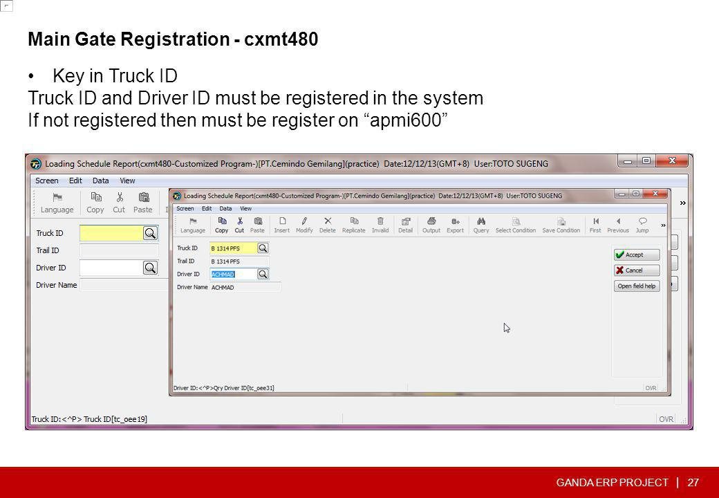 Main Gate Registration - cxmt480