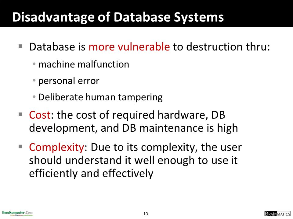 Disadvantage of Database Systems