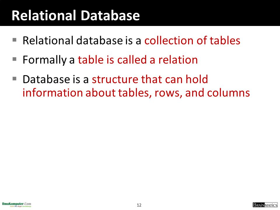 Relational Database Relational database is a collection of tables