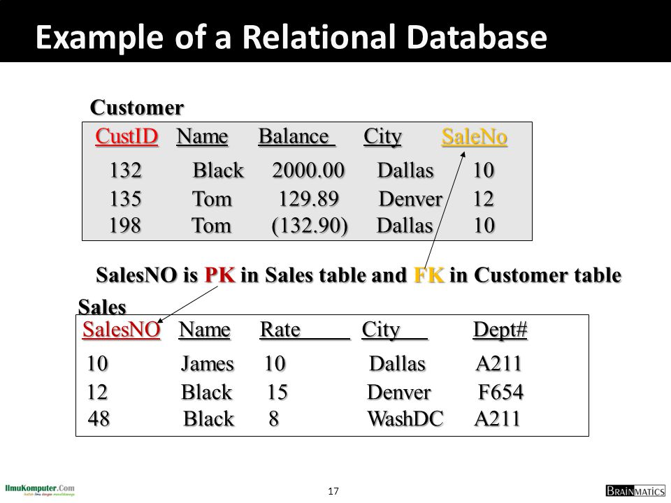 SalesNO is PK in Sales table and FK in Customer table
